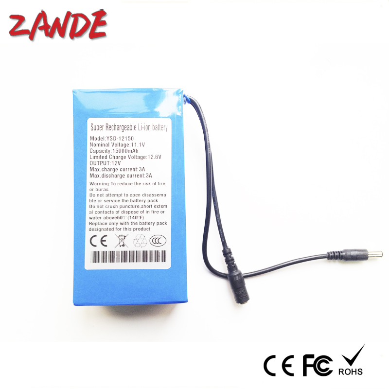 High quality DC <font><b>12v</b></font> <font><b>15Ah</b></font> Li-ion rechargeable <font><b>battery</b></font> with switch and AC <font><b>charger</b></font> for CCTV Camera/wifi booster image
