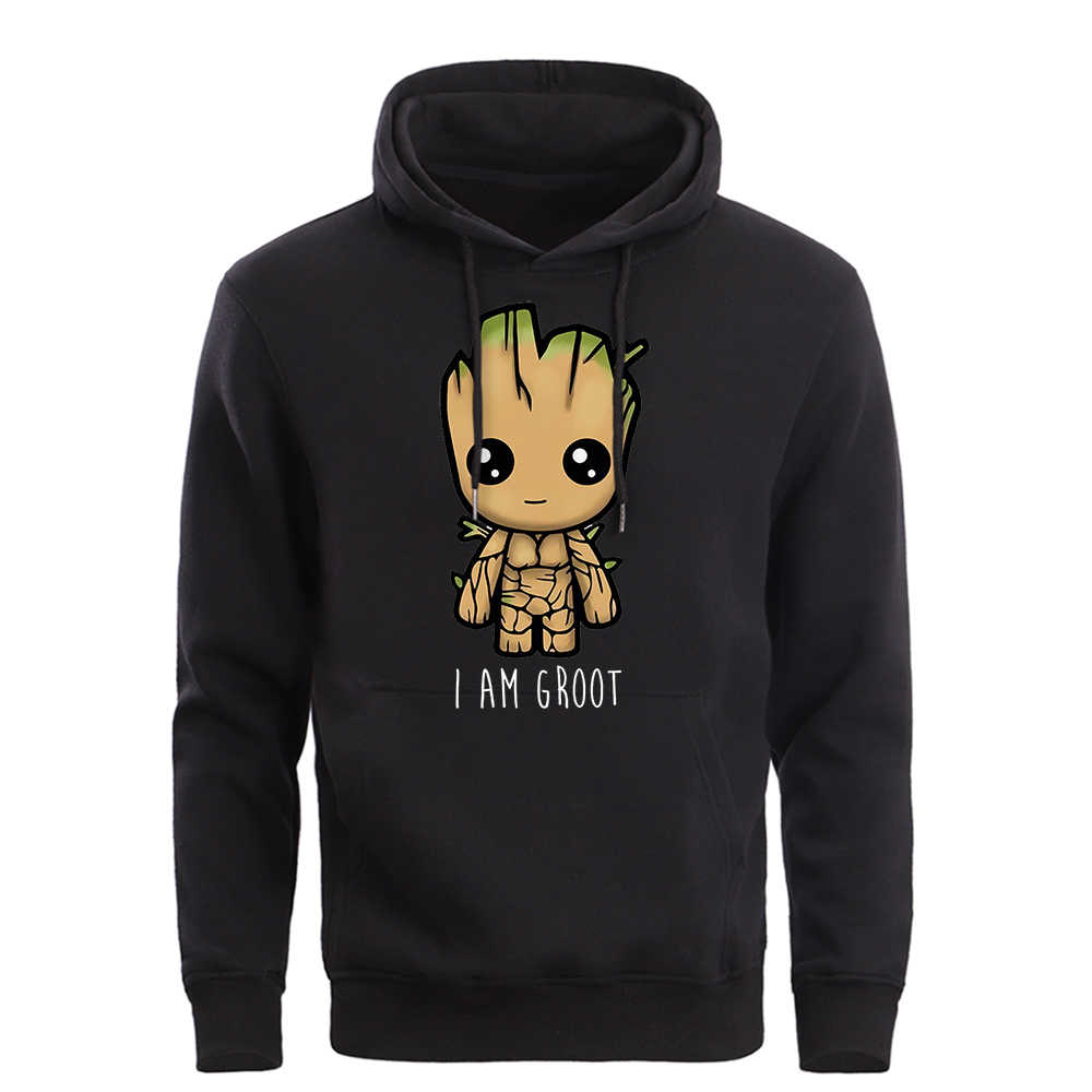 Avengers ICH Bin Groot Hoodies Sweatshirts Männer 2019 Frühling Herbst Warme Fleece Mit Kapuze Marvel Groot Cartoon Pollovers Marke Kleidung