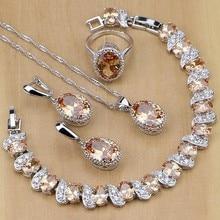 Bijoux de mariée en argent 925, ensemble de bijoux pour femmes, boucles d'oreilles, pendentif, collier, bagues, Bracelet