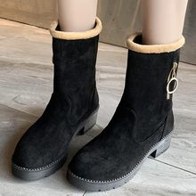 Mid-calf Keep Warm Suede Boots Fashion Women Square Heel Zipper Shoes Woman Warmer Hiking Snow Boot Round Toe Puppy Heel Boot(China)