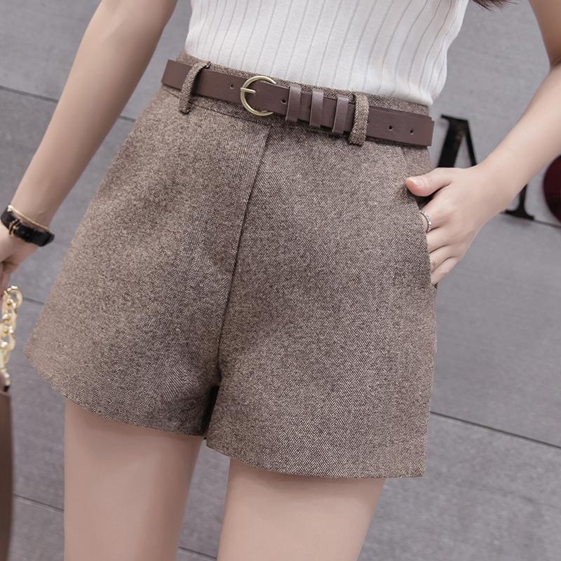2019 Autumn Fashion Woolen Shorts Women Korean High Waist Wide Leg Belted Short Pants Office All-Match Boots Shorts Plus Size