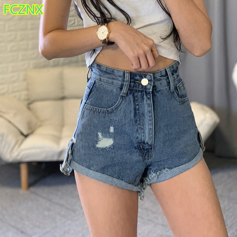 Summer New Women Short Jeans High Waist Ripped Cuffs Washed Solid Denim Shorts Female Fashion Casual Loose Wide-leg Hot Pants