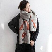 Западный модный маленький искусственный кашемир лисы шарф женский двухсторонний двойной назначения толстые теплые кисточки шаль