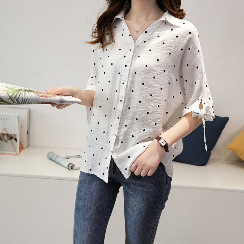 Korea Style Vintage Chiffon <font><b>Polka</b></font> <font><b>Dots</b></font> <font><b>Shirt</b></font> Women's Blouse Tops Short Sleeve <font><b>Shirt</b></font> White <font><b>Blue</b></font> M-3XL New image