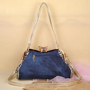 Image 3 - iPinee Ladies Handbags Women Fashion Bags Brand Design Women Shoulder Bags Denim Rhinestones Decorative