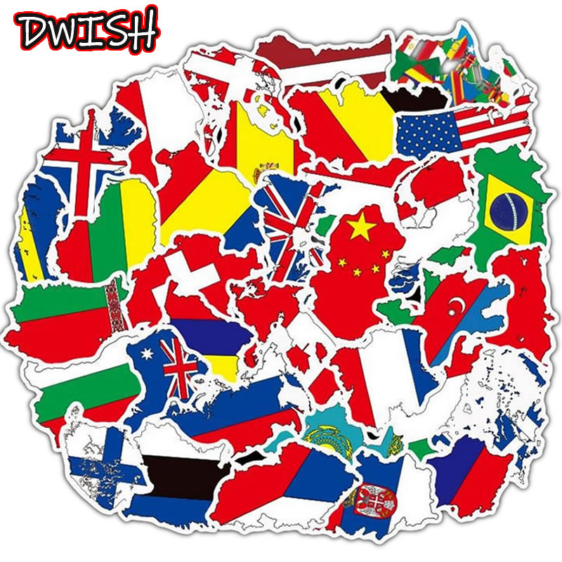 10/30/50pcs Waterproof National Flags Map Stickers Skateboard Guitar Suitcase Children Girl Graffiti Sticker Kids Classic Toy