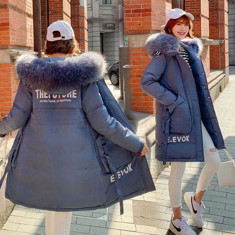 2019 Women Winter Coats Long Cotton Casual Fur Hooded Jackets Women Thick Warm Winter   Parkas   Female Overcoat Coat 2019 Outwear
