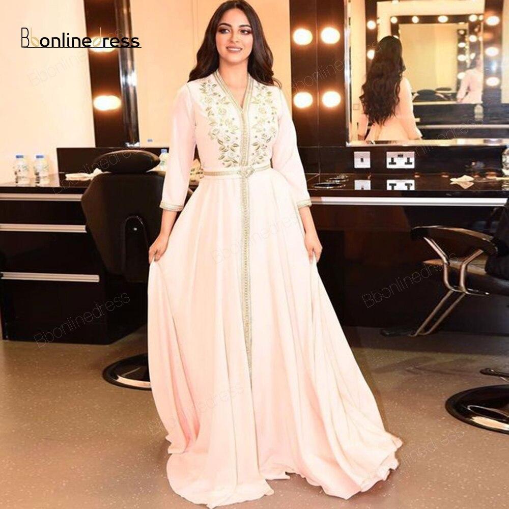 Party-Dress Moroccan Kaftan Evening Dresses Emboridery Appliques Long Evening Dress Full Sleeve Arabic Muslim Formal Gown