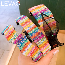 Levao Novelty Hair Bow Rainbow Hairbands for Women Girls Sequins Black Mesh Lace Bowknot Headband Wide Hair Hoop Headwear