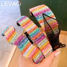 Levao ノベルティ毛の弓虹の女の子スパンコール黒メッシュレースちょうヘッドバンドワイド帽子