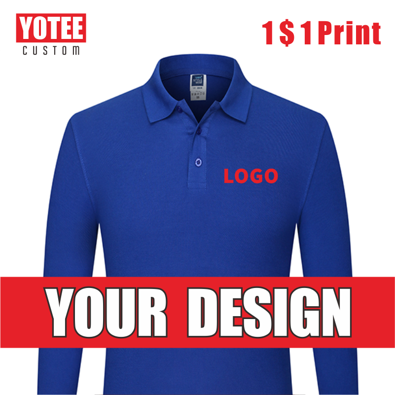 YOTEE Autumn Health Cotton Long Sleeve POLO Shirt Personal Company Group Clothing Custom Printing Design Photo LOGO