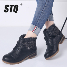 STQ 2020 새로운 겨울 여성의 발목 부츠 신발 정품 가죽 레이스 플랫폼 부츠 여성 따뜻한 봉 제 눈 부츠 여성 1802