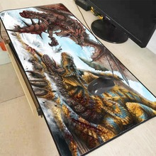 Mairuige 90X40CM Anime Monster Hunter World Large Gaming Mouse Pad Locking  Edge Mouse Mat for Computer Keyboard Pad Desk Pad