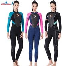 Kadın tek parça Wetsuit 3mm neopren dalgıç kıyafeti uzun kollu tam vücut dalış elbisesi soğuk su sörf sörf Rashguard mayo