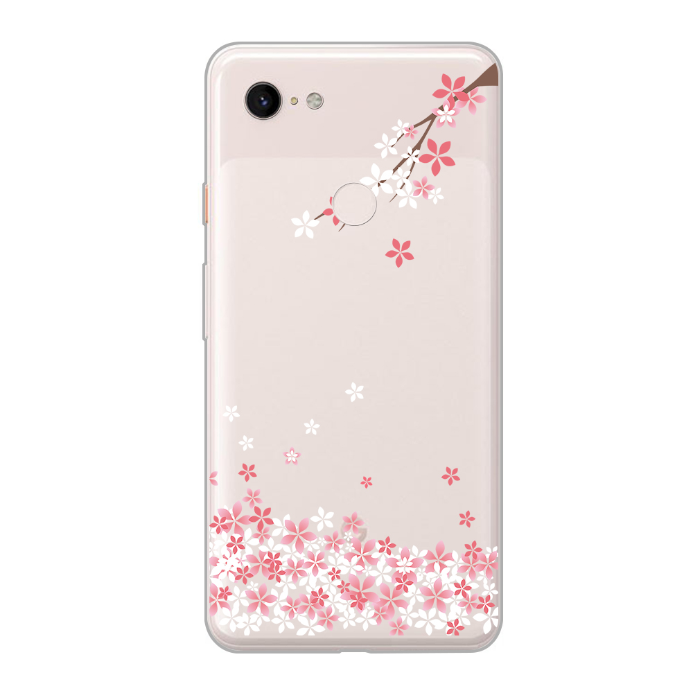 Fashion Pink Flower Phone Case For Google Pixel 3 2 3A 4 XL Soft TPU Back Cover For Pixel 3XL 2XL 3Axl 4XL Funda Floral