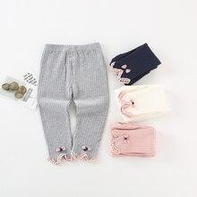 Высококачественные хлопковые колготки для малышей; сезон осень-зима; Штаны для маленьких девочек; трикотажные леггинсы для новорожденных; повседневные брюки для малышей