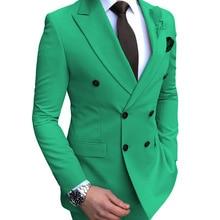 Зеленый мужской костюм 2 шт. двубортный тупый лацкан плоский приталенный Повседневный смокинг для свадьбы(Блейзер+ брюки