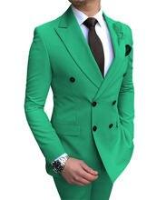 Мужской костюм из 2 предметов зеленые двубортные облегающие