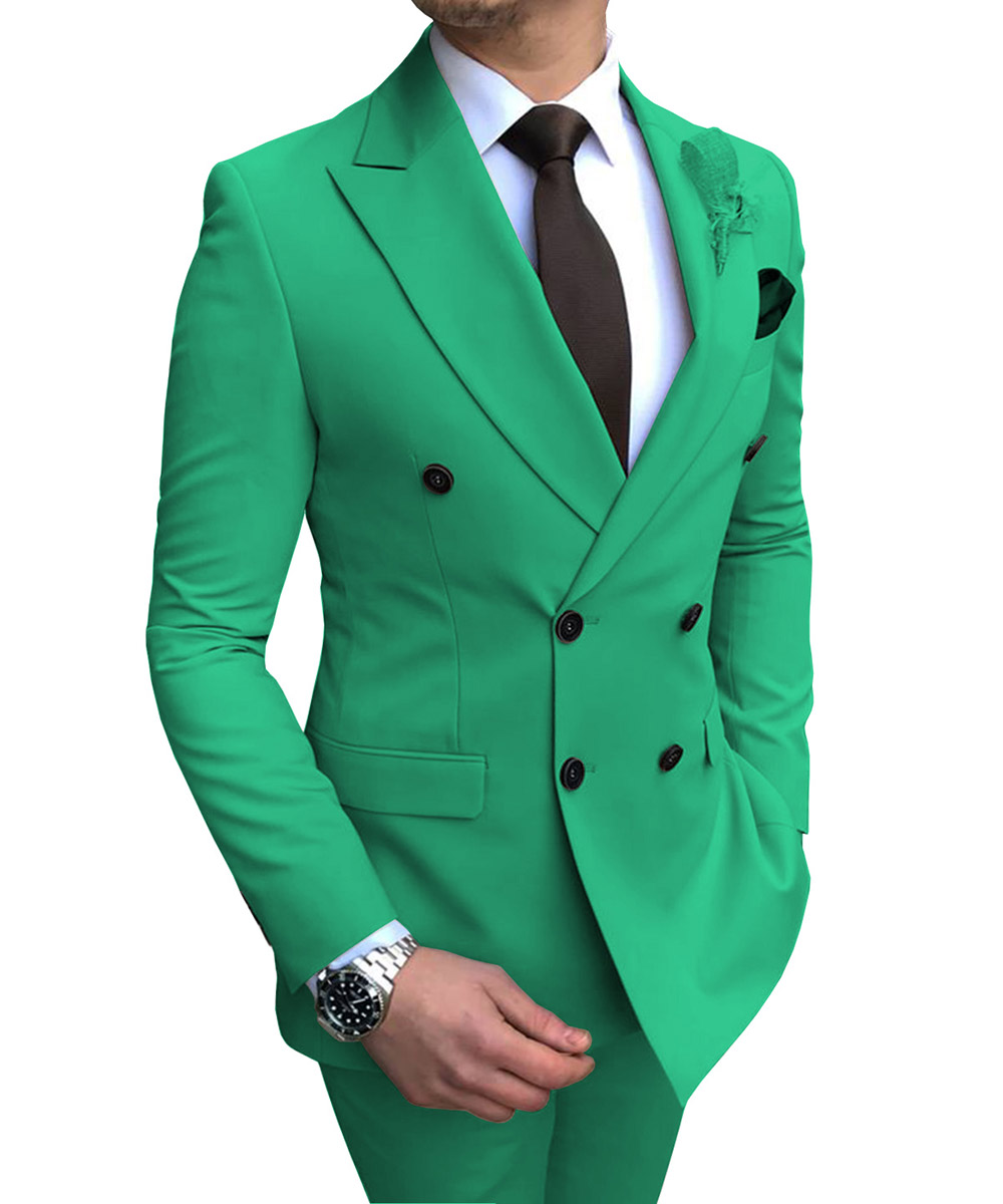 2020 Green Men's Suit 2 Pieces Double-breasted Notch Lapel Flat Slim Fit Casual Tuxedos For Wedding(Blazer+Pants)