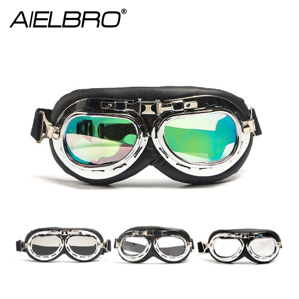 Motorcycle Glasses UV Protective Sandproof Retro Jet Aviator Goggles Motor Bike Reflective UV Protection Skiing Goggle