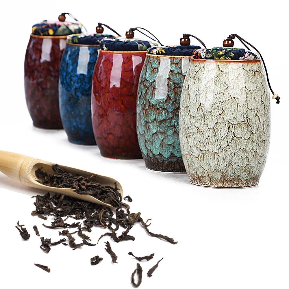 300ml Ceramic Kitchen Tea Box Retro Tea Pot Cans Caddies Containers Travel Storage Box Porcelain Jar For Powder Coffee Jar