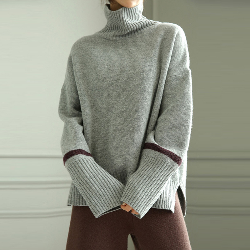 The New Akiyama Cashmere Sweater Women High Collar Loose Languid Is Lazy Thick Shorts Pullover Base 2019