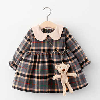 Autumn Newborn Baby Dress Girls Clothes Long Sleeve Plaid  Princess Dresses For Infant Baby Clothing 0-2y Toddler Girl Dress long sleeve baby girl dress newborn princess infant baby girl clothes mesh tutu ball gown party dresses little girls clothes