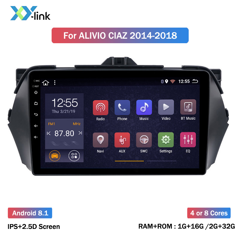 Android 8.1 Screen Car Radio Multimedia Player For Suzuki Alivio Ciaz 2014 2015 2016 2017 2018 GPS Navigation System Bluetooth