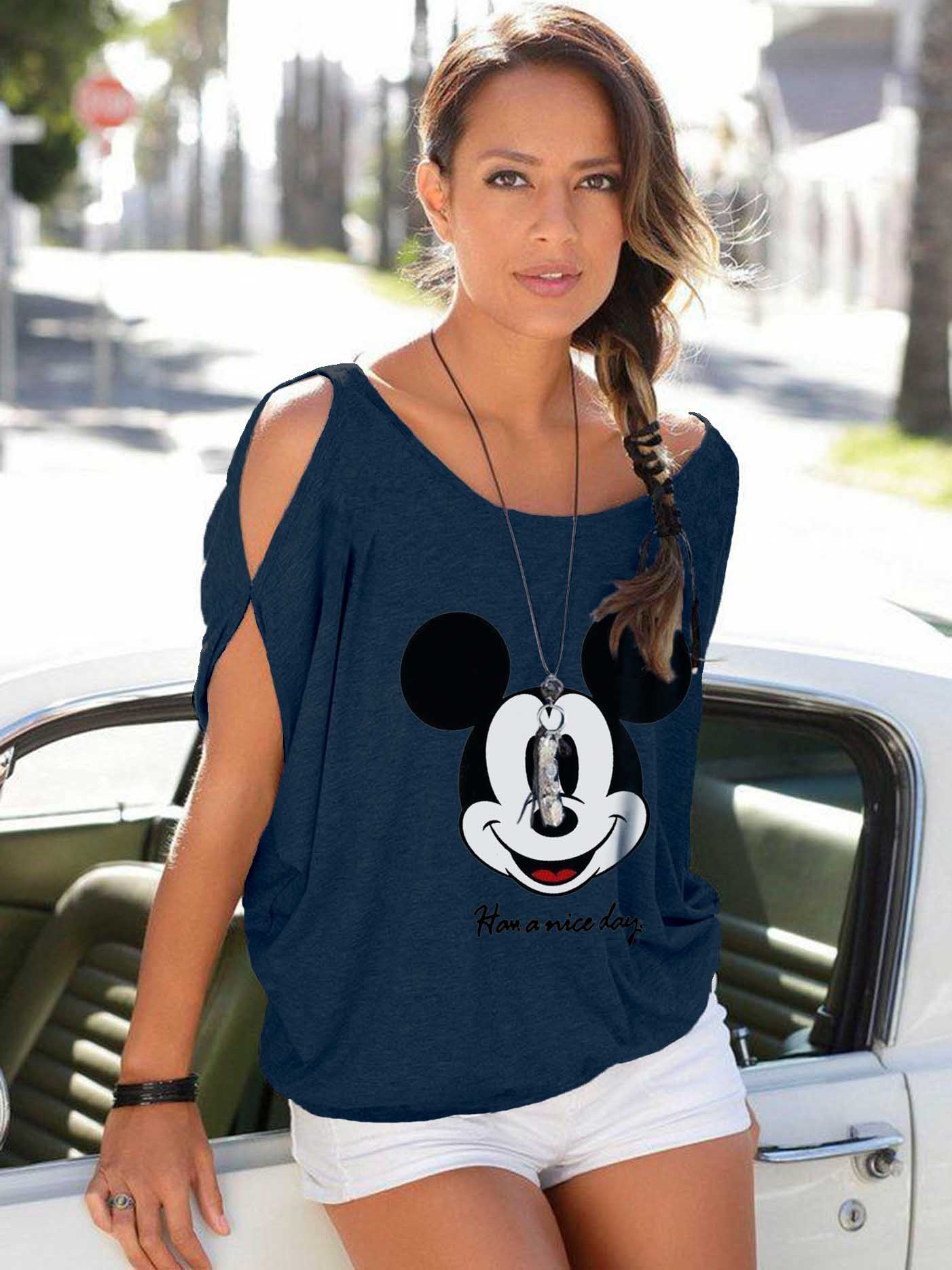 """2019 NEW Batwing Sleeve Tshirt Mickey Mouse Women Shirt Printing """"Have A Nice Day"""" Sexy T-shirts 3 Colour Femme Micky Clothing"""