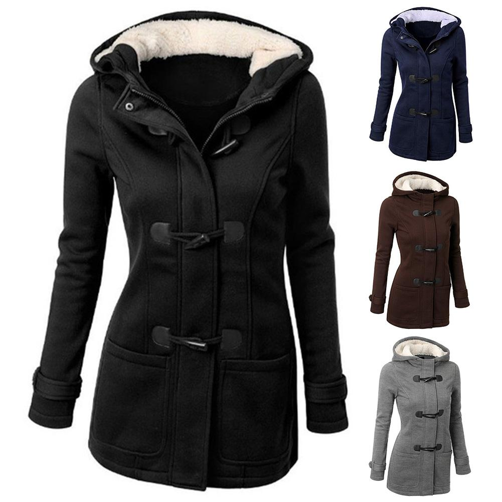 2019 Plus Size Winter Fashion Women Solid Color Horn Buckle Hooded Long Sleeve Coat Autumn And Winter Coat Woman Overcoat