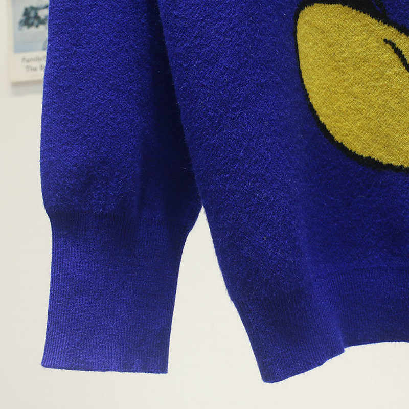 Mulheres o-pescoço tricô camisola outono inverno moda desenhos animados manga longa pulôver solto topos de alta qualidade mickey blusas femininas
