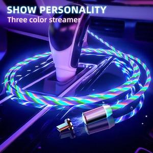 СВЕТОДИОДНЫЙ Магнитный зарядный кабель, светящийся кабель с Micro usb type C для iPhone, Android, USBC