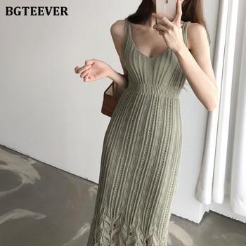 BGTEEVER Casual V-neck Spaghetti Strap Sleeveless Bodycon Dress Women Summer Female Knitted Dress 2020 Hollow-out Midi Vestidos