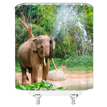 Shower Curtains Animal 3d-Print Waterproof Tiger with 12-Hooks Elephant High-Quality