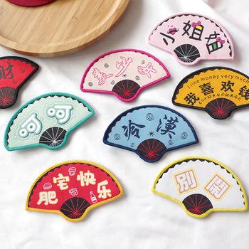 Chiński styl kreatywne śmieszne słodkie haftowane w kształcie wachlarza magiczne naklejki osobowość moda dziewczyna Student akcesoria do włosów tanie i dobre opinie As Shown Dziewczyny Dzieci Barrettes List MY2516-2530 Girls Fashion Birthday Party Gift 100 New Support China Opp bag