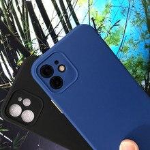 Contraste de cor caso de silicone líquido para iphone 6 7 8 plus 11 12 pro max x xs xr 5 5S capa de proteção de lente macia no iphone capa