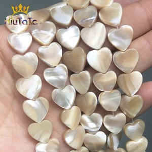 Natural Shell Pearl Beads Heart Shape Beige Loose Spacer Beads For Jewelry Making DIY Charms Bracelet Accessories 15'' Strands