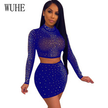 WUHE 2 Pieces Sets Crystal Diamond Mesh Sexy Bodycon Dress Hollow Out Long Sleeve Party Mini Transparent Vestidos