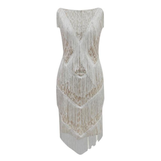 1920s Diamond Sequined Embellished Fringed Great Gatsby Flapper Dress Retro Tassle Croche Midi Party Dress Ukraine Vestidos#J30 2