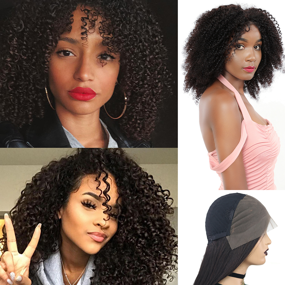 Short Afro Kinky Curly Wigs Human Hair 13*4 Lace Front Wigs Brazilian Non-Remy Natural Color 12-22 Inches IJOY
