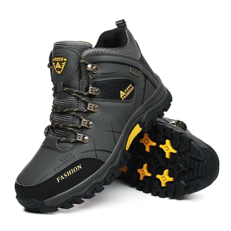 Брендовые мужские зимние ботинки, Водонепроницаемые кожаные кроссовки, супер теплые мужские ботинки, уличные мужские походные ботинки, рабочая обувь, размер 39 47|Зимние сапоги|   | АлиЭкспресс