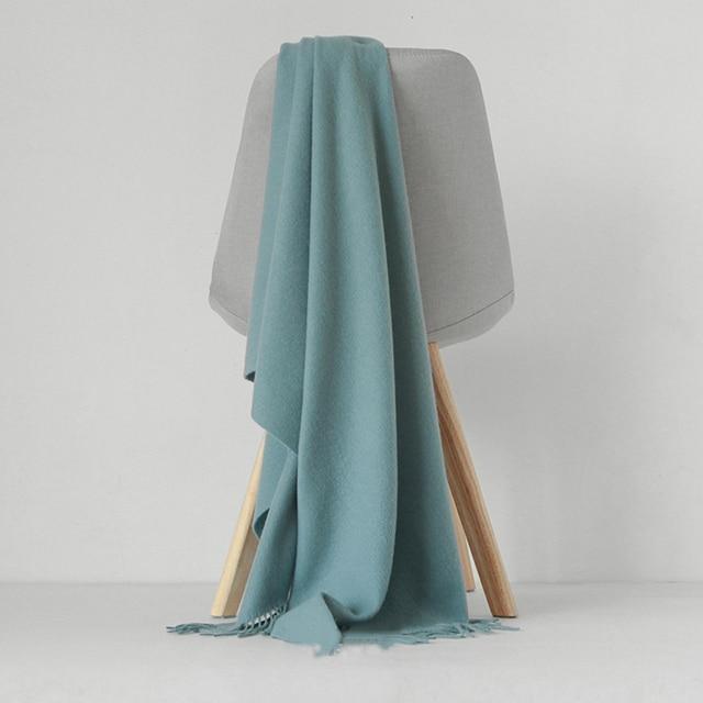 Luna&Dolphin Desinger Brand Women Pure Wool Scarf Solid Color Winter Ladies Pashmina Tassel Big Shawl Wrap Thicken Blanket Scarf