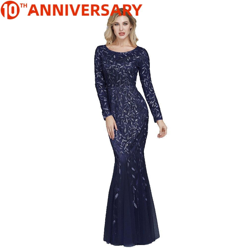 V-neck long sleeve simple beaded slim mermaid leaf pattern evening dress plus size