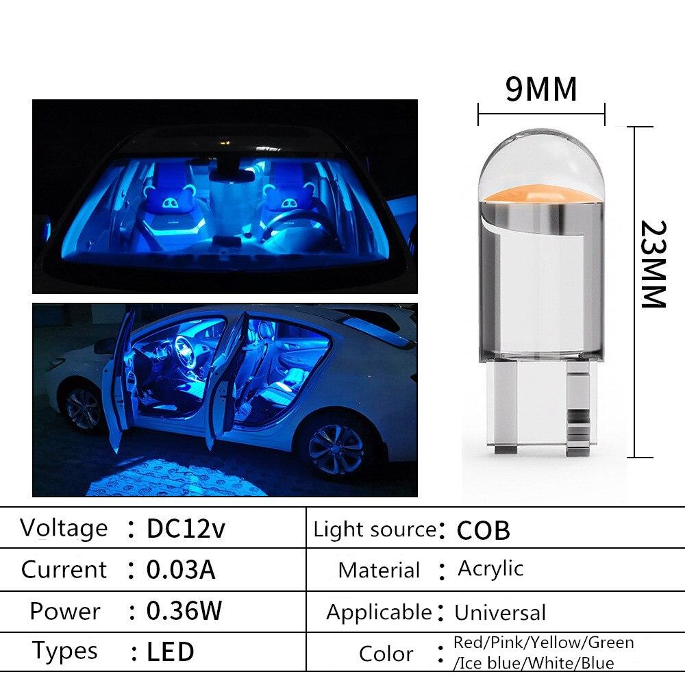 2pcs W5W T10 LED Lamp Car Bulb Epoxy Resin Cob 12V 6000K 7 Colors Wedge License Plate Lamp Dome Indicator Reading Light White 5