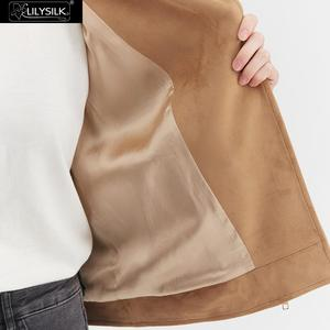 Image 5 - LilySilk מעיל Moto האופנה זמש נשים חדש משלוח חינם