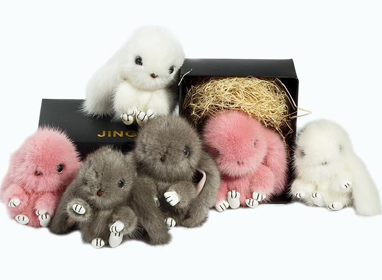 Mink fur Rex rabbit fur plush pendant cute bag pendant rabbit doll car key chain