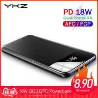 YKZ QC 3.0 Power Bank 10000mAh LED zewnętrzny przenośny akumulator powerbank PD szybka ładowarka powerbank do iphone'a Xiao mi mi Poverbank