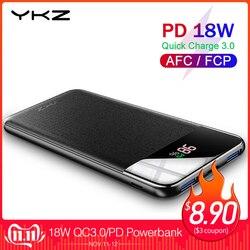 Ykz qc 3.0 banco de potência 10000 mah led externo portátil bateria pover banco pd carregador rápido powerbank para iphone xiao mi mi poverbank