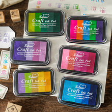 5color Gradient Stamp Diy Finger Painting Inkpad Stamp Diary Decoration Painting Rubber Stamp Big Box Cardmaking School Supplies
