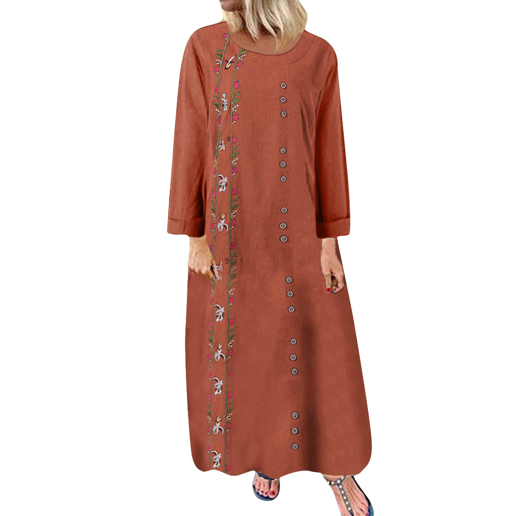 Plus Size Maxi Linen Dress Women Autumn MAXIORILL летнее платье Bohemian Loose Long Sleeve Floral Embroidery Long Shirt Dress #3